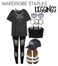 """""""Wardrobe Staples: Leggings"""" by darling-ange1 ❤ liked on Polyvore featuring River Island, R13, Birkenstock, Robert Lee Morris, Givenchy, Quay, Pearls Before Swine, New Look, Leggings and WardrobeStaples"""