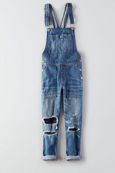 AEO Denim Overall , Medium Destroyed | American Eagle Outfitters