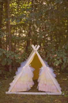 NOW ON SALE  Kids AFrame Ruffle Teepee Play Tent by TeepeeandTent, $199.99