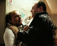 Ralphie being calmed by Tony after the bow and arrow thing with his son ~ Joey Pants & James Gandolfini