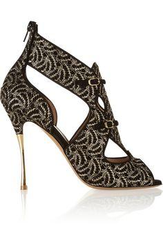 Nicholas Kirkwood F/W 2013 collection. Nicholas Kirkwood, Cute Shoes, Me Too Shoes, Shoe Boots, Shoes Heels, Shops, Gold Heels, Shoe Art, Suede Sandals
