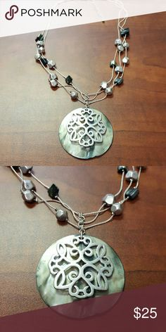 Silvertone Shell Pendant & Multistrand Chains Very pretty, silvertone with shells Jewelry Necklaces