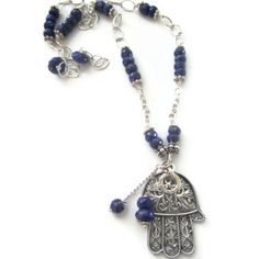 Lapis and Sterling Hamsa Necklace  SOLD
