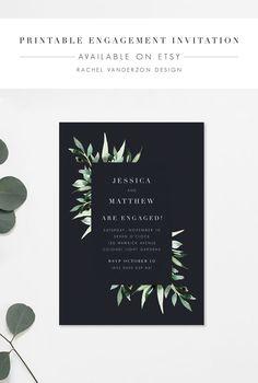 Printable Modern Navy Engagement Invitation / Available on Etsy / By Rachel Vanderzon #printableinvitation #engagementinvitation #moderninvitation