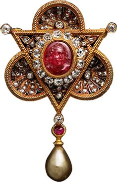 Title	The cameo brooch pendant with ruby ​​of young faun Production year	Circa 1875 Country	Italy Authors	Augusto Castellani Material	Gold, diamond, pearl, ruby ALBION ART