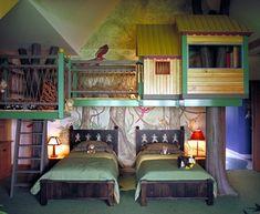Jungen Kinderzimmer mit Baumhaus. Genial!