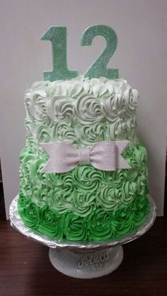 I love this mint green ombre rosette cake. Edible chocolate numbers and gum paste bow.