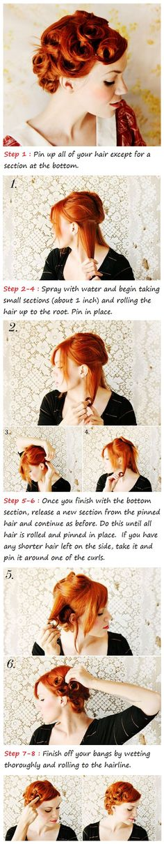 Pin Curls Hair Tutorial - Takes a while to do but you get very nice soft curls from this. Do it tidy enough and you can wear it out as is too.