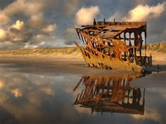 Wreck of the Peter Iredale at Ft. Stevens State Park.  Photo by Justin Gilles