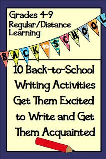 Writing ideas for grades 4-9 back-to-school to get them excited to write and get to know each other. FREE for distance learning and regular classroom. Great for middle school English Language Arts.