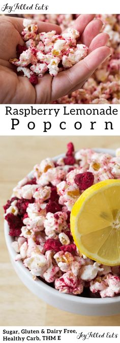 My Raspberry Lemonade Popcorn will quickly become your favorite snack. It is sweet and zesty with the flavors of lemon and raspberries in every bite. It reminds me of a warm summer day sipping lemonade on the porch. Healthy Movie Snacks, Healthy Popcorn, Popcorn Snacks, Gourmet Popcorn, Popcorn Recipes, Snack Recipes, Cooking Recipes, Cooking Popcorn, Pop Popcorn
