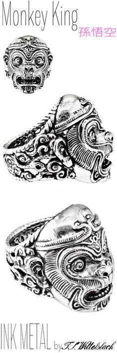 Silver Ring - THE MONKEY KING   Born of stone and a rebel in Heaven, the Monkey King protected the famous pilgrimage to India to retrieve Buddhist sutras, thereby introducing the religion to East Asia.