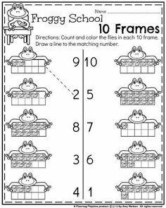 Back to School Kindergarten Worksheets - Froggy School 10 Frames Preschool Math, Kindergarten Worksheets, Math Classroom, Teaching Math, Free Worksheets, Matching Worksheets, Kindergarten Learning, Tracing Worksheets, Printable Worksheets