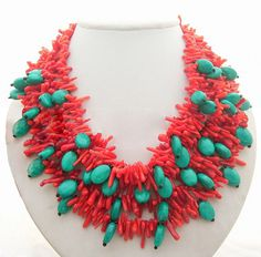bridesmaid gifts,Bead Necklace,Beaded Jewelry,Mothers Jewelry,Turquoise Necklace With Red Coral Green Turquoise. $42.00, via Etsy.