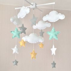 Baby mobile - Cot mobile - clouds and stars - Cloud Mobile - Nursery Decor  - Pastel baby mobile - mint, grey and yellow
