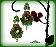 hand embroidered jewelrysoutache jewellery por LidiaArtSoutache