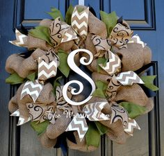 Fall and Halloween Burlap Wreath with moss green, black and ivory chevron ribbons, and an ivory painted monogram