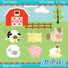 This super cute Farm themed clip art set includes 15 separate,    High Resolution 300 dpi JPG (white backgrounds) and PNG (transparent    background) file formats, 1 High Resolution Background Image (12X12  inches), and 5 High Resolution JPG Digital Papers.