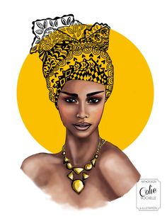 African Queen woman Illustration Colorful Geometric by Artist Colie