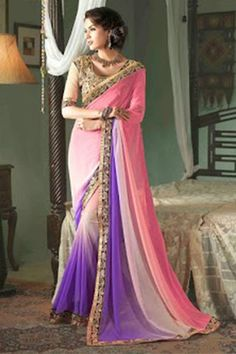 Attractive Pink With Purple Colour Designer Saree