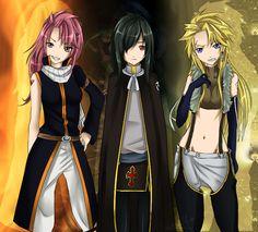 Fire, Shadow and Light Dragon Slayers, gender-swap. by AquaLeonhart on deviantART