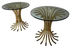 Gilt Wheat Sheath  End  Tables, Pair - J'adore! I would prefer a drawer for a nightstand but when it looks so fabulous, who cares for practical?