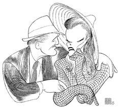 Katharine Hepburn and Spencer Tracy - illustration by Al Hirschfeld