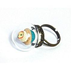 Bague globe en verre mini cupcake