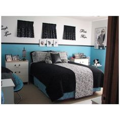 Teenage Girls Room ❤ liked on Polyvore featuring house, rooms, bedrooms, home and backgrounds