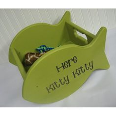 Personalized Kitty Toy Box fish Shape with Fish Handles - diy?
