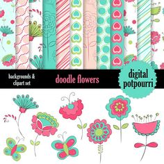 buy2get1 buy2get1doodle flowers 1 clipart and papers - 20 pc