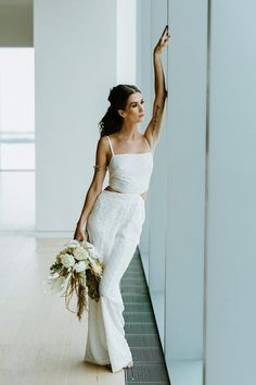 4fc3537d134f Simple White Jumpsuit for The Modern Bride, Backless Bridal Pantsuit, Boho  White Bridal Jumpsuit