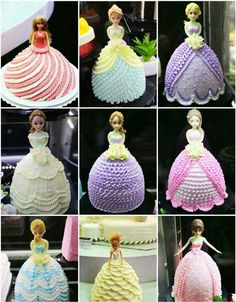 Princess cake topper in softer colors? Bolo Barbie, Barbie Cake, Girly Cakes, Cute Cakes, Princess Party, Princess Birthday, Dolly Varden Cake, Barbie Birthday Cake, Dress Cake