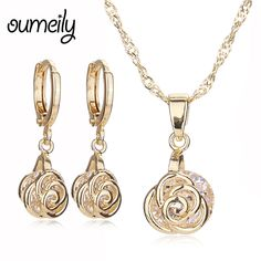 OUMEILY Jewelry Sets Engagement Necklace Flower Pendant Imitation Crystal Earrings For Women Wedding Accessories Gold Plated