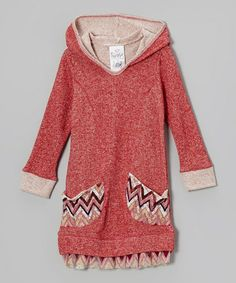 Look what I found on #zulily! Red Zigzag Hooded Sweater Dress - Toddler & Girls #zulilyfinds