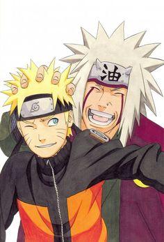 Naruto and Jiraiya illustration by Masashi Kishimoto