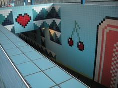 Tiles inspired by computer games art by Lars Arrhenius at Thorildsplan metro station in Stockholm (2008)