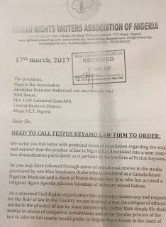 On Apostle Suleman Case|: HURIWA Accuse Barrister Festus Keyamo Of Litigating Issues In The Court     In view of the sex allegation against Apostle Johnson Suleman by Stephanie Otobo the Human Rights Writers of Nigeria (HURIWA) has accused Barrister Festus Keyamo of litigating issues in the  court of public opinion to score cheap popularity and unfair advantage.  In a two-page letter to the Nigerian Bar Association (NBA) President Abubakar Balarabe Mahmoud by its national cordinator Emmanuel…
