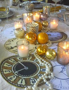 ciao! newport beach: New Year's Eve Tablescape - clockface runner, gold ornaments, pearls, candles + more!