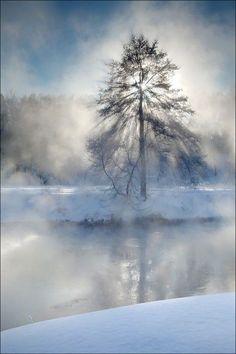 Foggy morning, Pekhórka River, near Moscow, Russia