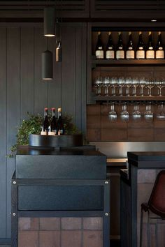 The interior of Polperro Winery designed by Hecker Guthrie draws inspiration from Rebekah Stuart's artworks, with a palette derived from nature. Restaurant Lighting, Restaurant Concept, Cafe Restaurant, Restaurant Design, Cafe Bar, Australian Interior Design, Interior Design Awards, Commercial Interior Design, Hecker Guthrie