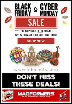 If you haven't shopped at Educents before, don't wait any longer! They have amazing toys, games, cirriculum, and even musical instruments. Get your kids the gift of learning this Christmas! They will have so much fun with these great...