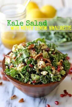 Kale Salad with Meyer Lemon Vinaigrette - Perfect as a light lunch or even a meatless Monday dinner option! via @Michele Howard Delicious