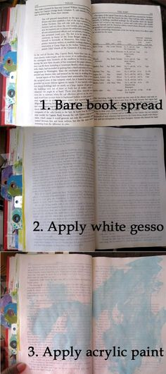 Gesso the pages on the bookcase after modpodging them. Dry and then paint with acrylic