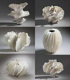 Organic sculptural forms, vessels, inspiration for sculpture Ceramic Clay, Porcelain Ceramics, Ceramic Pottery, Pottery Art, Painted Porcelain, White Porcelain, Hand Painted, Ceramic Flowers, Clay Flowers