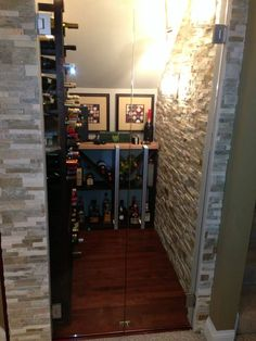 Wine Cellar we built to fit under the homeowners stairs.