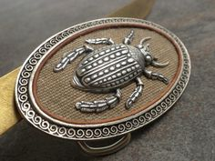 Silver Belt Buckle Insect Beetle by Serrelynda on Etsy