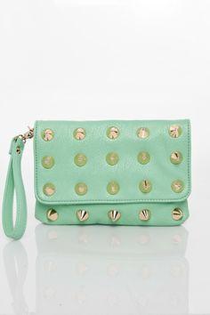 ShopSosie Style : Lula Studded Clutch in Mint