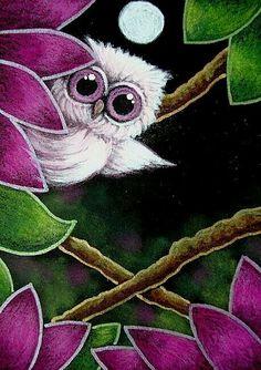 Coruja e a flor rosa