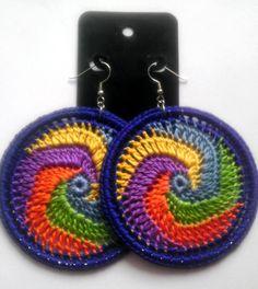 Rainbow Cosmic Swirl Crochet Hoop Earrings by ImpressiveDesigns, $8.00